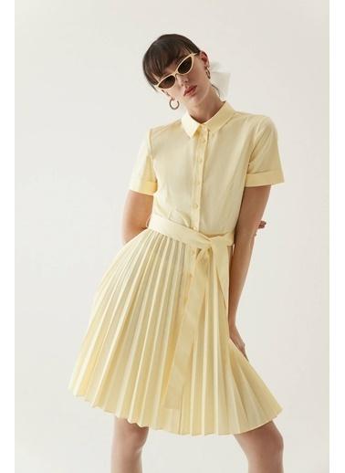 Rue Kuşaklı Midi Gömlek Elbise Sarı